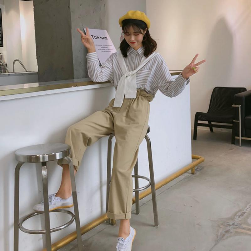 时尚女装套装2018秋装新款学院风可拆卸披肩条纹衬衫+显瘦花苞裤