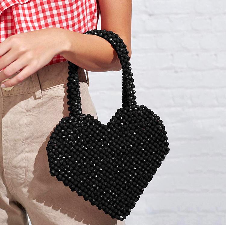 超火小众设计度假风Love爱心珠子包重工手提串珠亮晶晶手工编织包