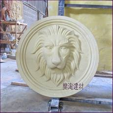 Sandstone lion head sculpture sandstone relief sculpture round leisure place community courtyard bar decoration spray water round lion head