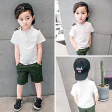 Special offer boys set 2018 summer children's collar collar short sleeve shorts two-piece baby cotton suit tide