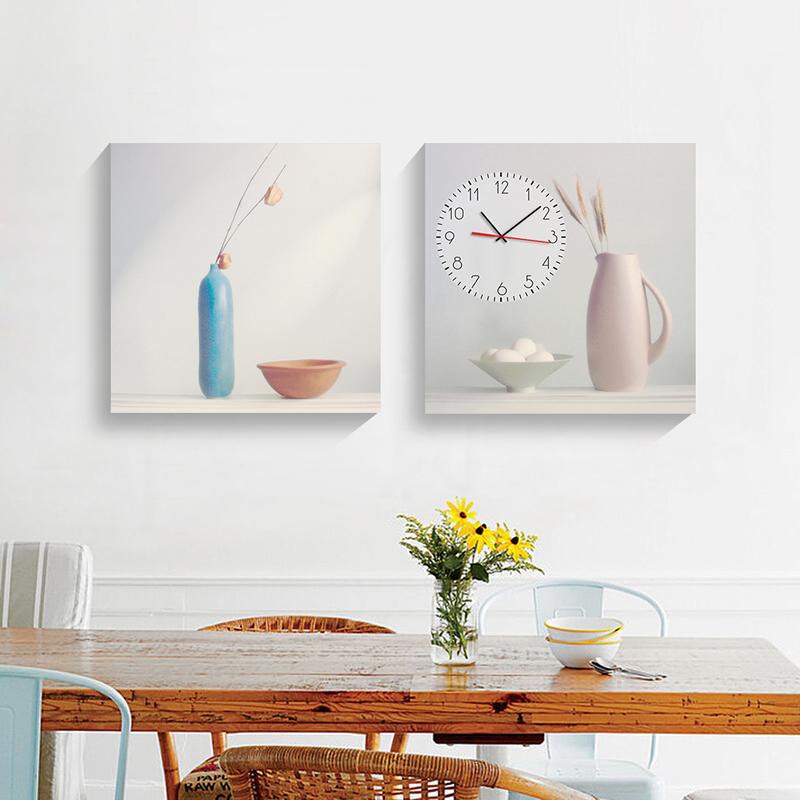 客厅无框画挂钟餐厅饭厅装饰两联钟表画玄关走廊壁画风景花卉挂画