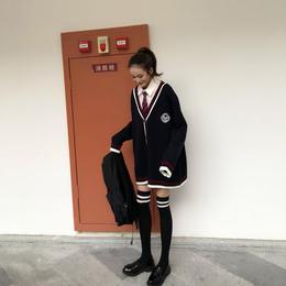 学院风宽松学生毛衣女开衫外套日系V领网红慵懒风衬衫两件套套装