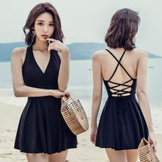 One-piece skirt-style swimsuit female covered belly was thin conservative small chest gathered sexy Korea ins large size hot spring swimming