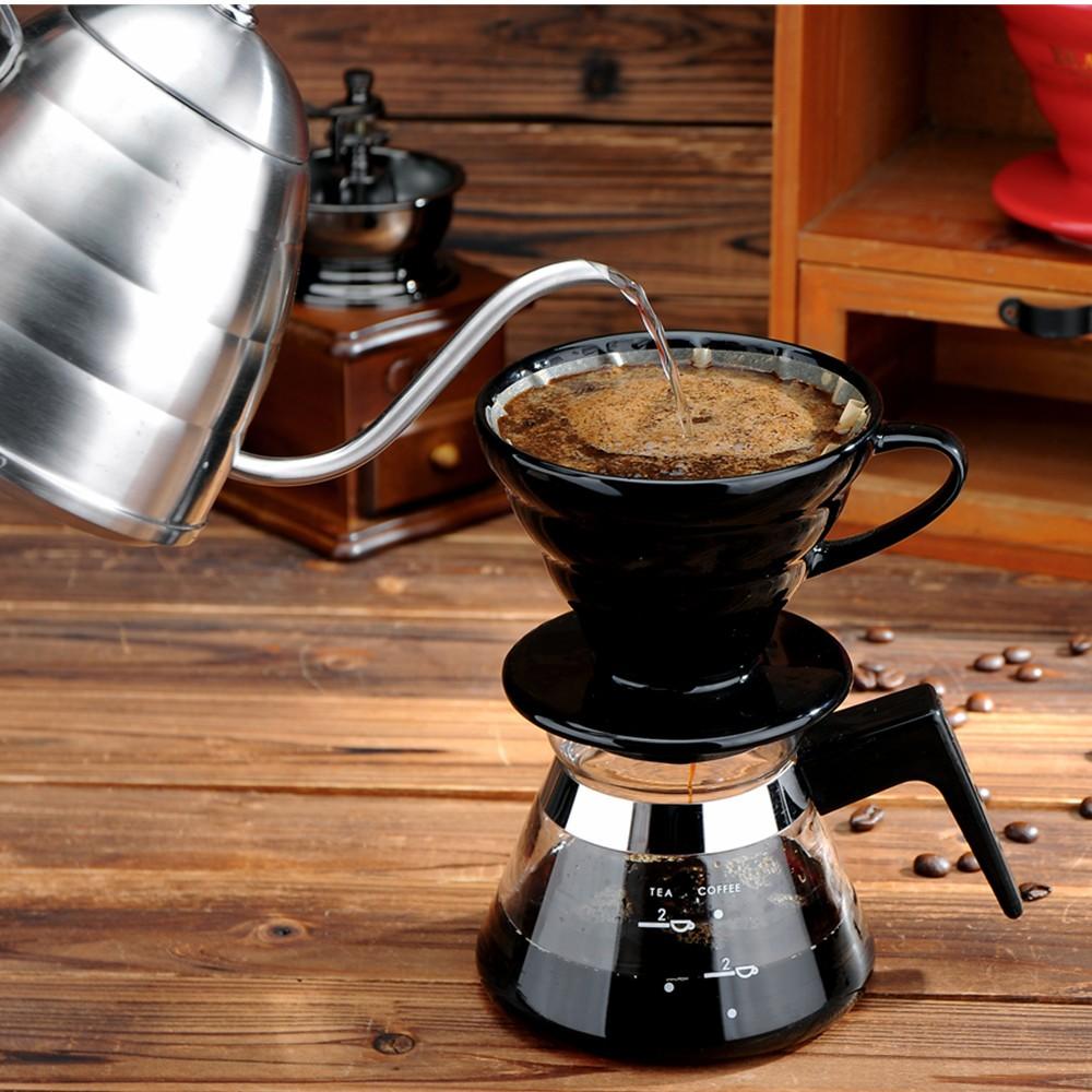 咖啡壶家用手冲咖啡壶套装 细口壶滴漏式陶瓷滤杯煮咖啡器具