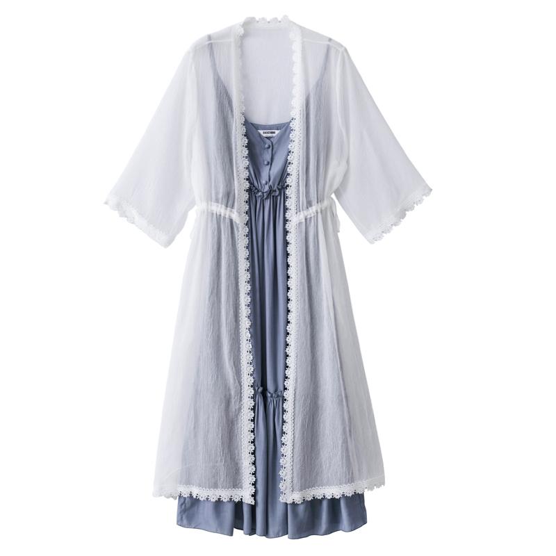 女夏2018新款腰粗遮肚子连衣裙藏肉减龄洋气胖mm大码显瘦两件套装