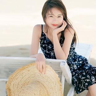 微笑向暖新款文艺复古V领碎花荷叶边背心裙海滩度假雪纺吊带裙