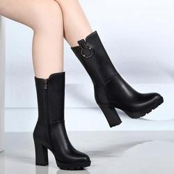 天天特价新款欧美女靴子圆头瘦腿高跟马丁靴真皮防水台粗跟中筒靴
