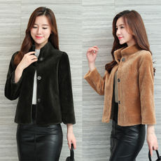 Sheep sheared coat ladies fur coat clearance special offer short section wool collar one body slim winter new 2018