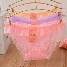 5 strips Sexy ruffled lace ladies panties Low waist briefs with slits solid transparent panties