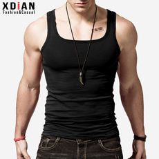 Continuation Square Neck Vest Men's Summer Fitness Skinny Cotton Pure Slim Breathable Base Sweat Vest