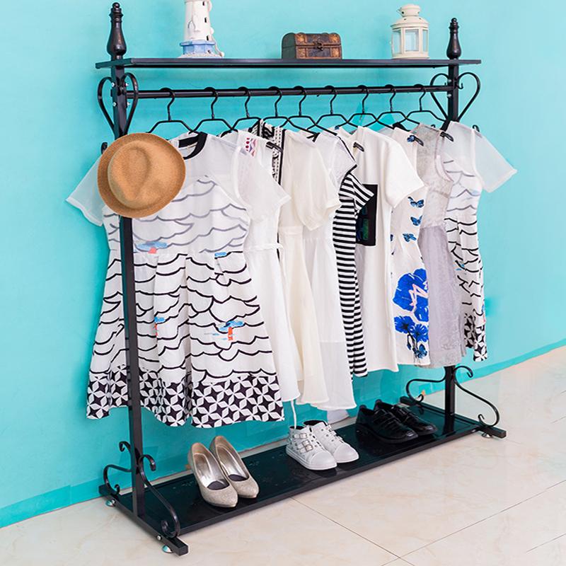 服装店展示架卧室内挂衣服架子现代简约单杠落地式置地晾晒衣帽架
