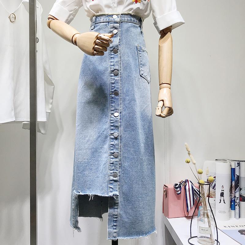 韩版高腰中长款排扣半身裙女2018夏季显瘦大码200斤胖mma字牛仔裙