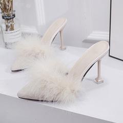 网红2019新款时尚试衣鞋高跟拖鞋女夏外穿细跟小码尖头性感毛毛鞋