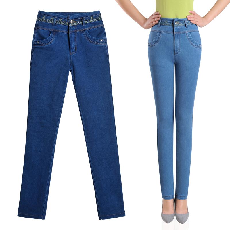 景纪良品春装新款修身显瘦弹力高腰直筒裤牛仔裤女裤长裤有大码