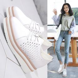 2018夏季新款白色厚底松糕鞋女镂空春鞋小白鞋子英伦学生透气单鞋