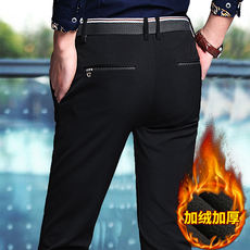 Men's casual pants, wild trousers and velvet thickening autumn and winter decoration straight into the business 2018 new trousers