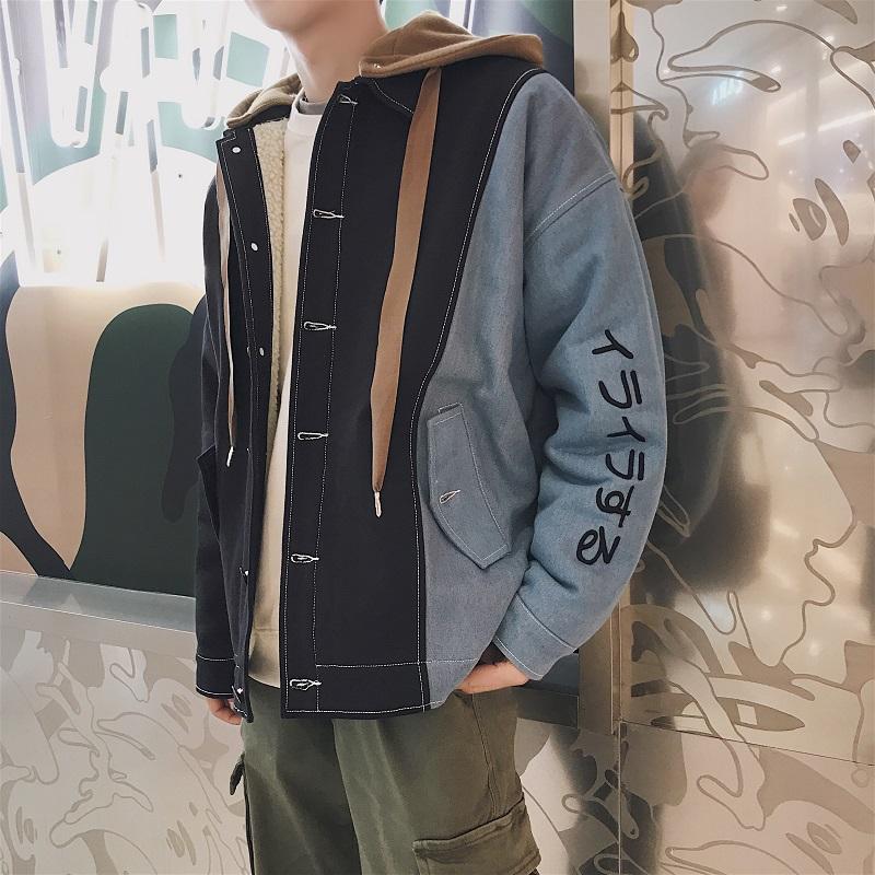 奥色OHSARE冬季加绒连帽夹克男韩版潮流学生宽松休闲加厚棉衣外套