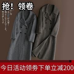 双面羊绒大衣女中长款2017新款高端千鸟格子毛呢子外套加厚2018