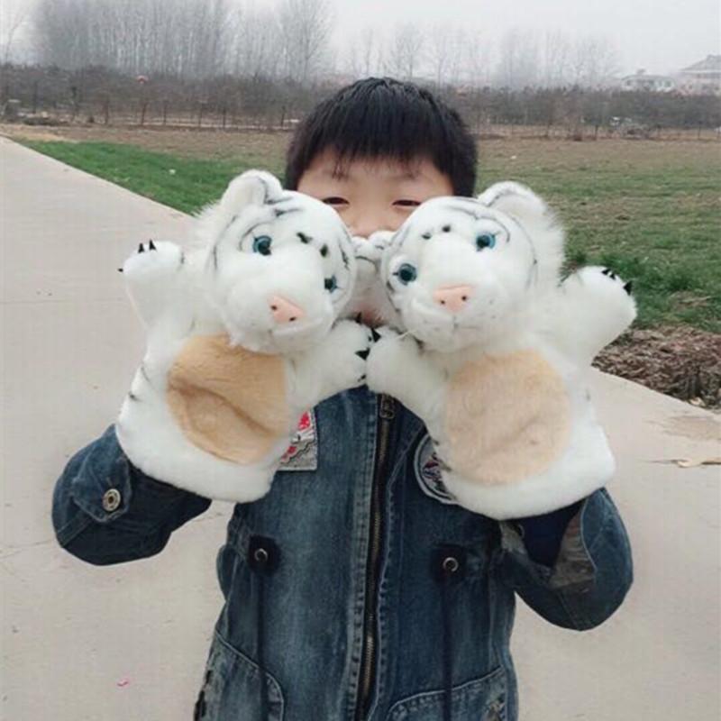 可爱仿真老虎手偶动物头像玩偶毛绒宝宝安抚儿童演出腹语锻炼道具