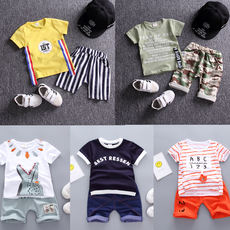 Children's clothing boys summer short-sleeved suit 1-2-3 4 baby clothes new girls t-shirt shorts two sets of tide