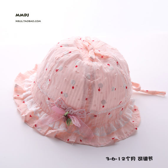 Baby hat summer thin section Female baby 0-3-6 months 12 newborn cotton breathable shade fisherman basin cap