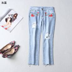 109692 臻Affordable women's spring zipper nine points embroidered hole jeans