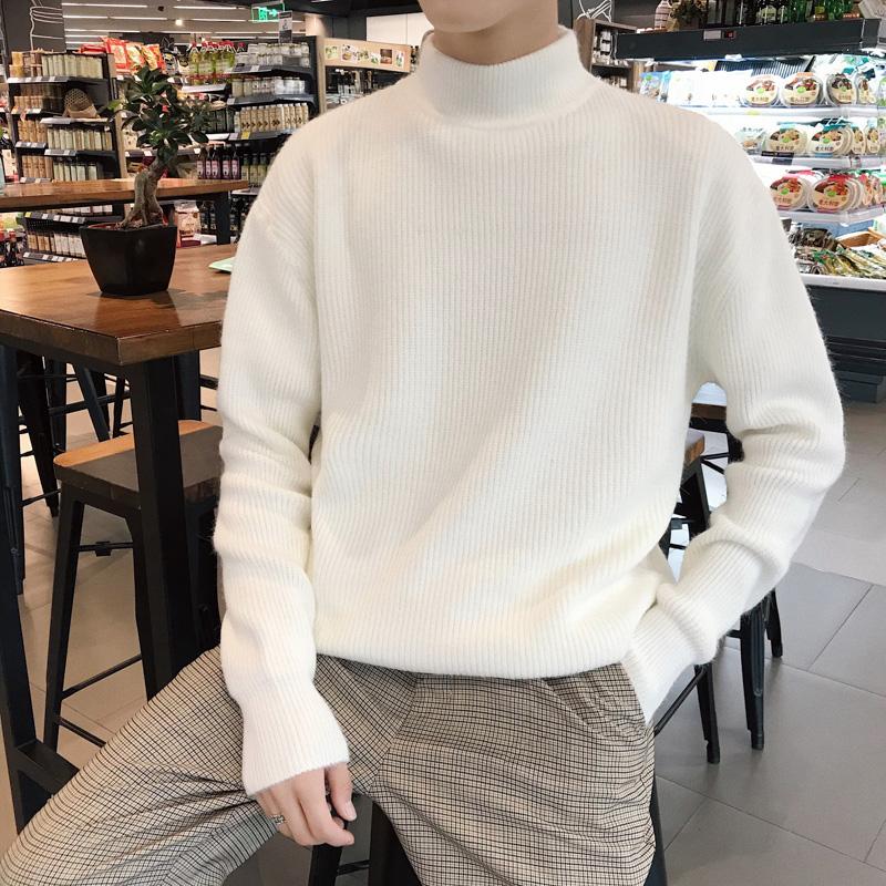 冬季半高领毛衣男宽松慵懒风针织衫男士韩版潮流加厚情侣打底衫
