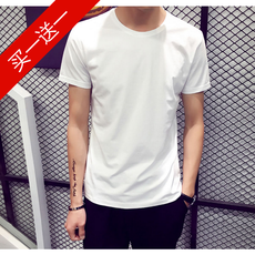 Summer men's short-sleeved T-shirt round collar solid color shirt shirt Korean half-sleeved shirt summer men's black and white tide