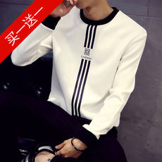Men's long-sleeved T-shirt men's striped shirt on autumn clothes 丅 Spring and Autumn outside the ride to wear a handsome bottoming shirt 桖 桖