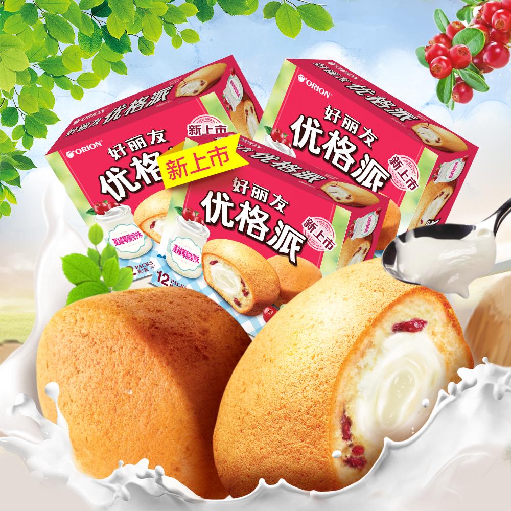好丽友派新口味优格派蔓越莓酸奶注心蛋糕整箱蛋糕小面包12枚*3盒