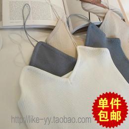 夏季女装新品韩版修身竖纹针织打底衫性感显瘦简约细吊带背心女