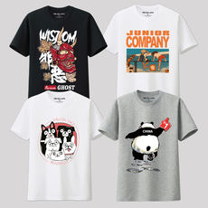 Couple models Short-sleeved men's T-shirts Youth round neck men's casual half-sleeved clothes Tide brand cotton T-shirt men