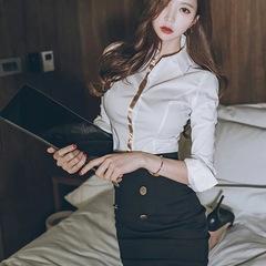 白衬衫春装女2019新款韩范职业长袖衬衣气质女神范衣服修身上衣女