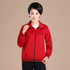 Middle and old aged women's spring new sportswear women's jacket long-sleeved solid color loose shirt jacket large size mother loaded