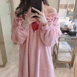 睡裙女冬可爱珊瑚绒长款加厚睡衣女秋冬款法兰绒性感公主风家居服