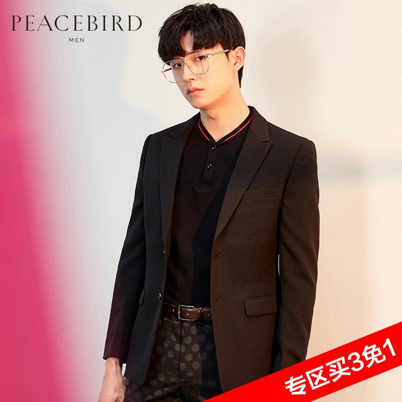 太平鸟男装 男士新款黑色便服两粒单排扣西服B2BB53529#