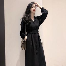 秋季女2018新款衣长袖连衣裙收腰显瘦慵懒风气质复古法式少女长裙