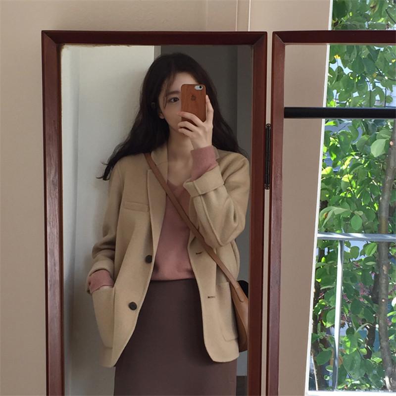 韩版秋装休闲百搭宽松翻领长袖两粒扣纯色双面羊毛西装毛呢外套女
