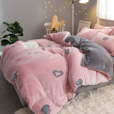 Thick coral fleece four-piece flannel fleece double quilt cover winter crystal lawle velvet bed sheet three-piece