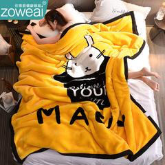 兔绒双层毛毯被子加厚珊瑚绒床单单人保暖法兰绒小午睡毯冬季毯子