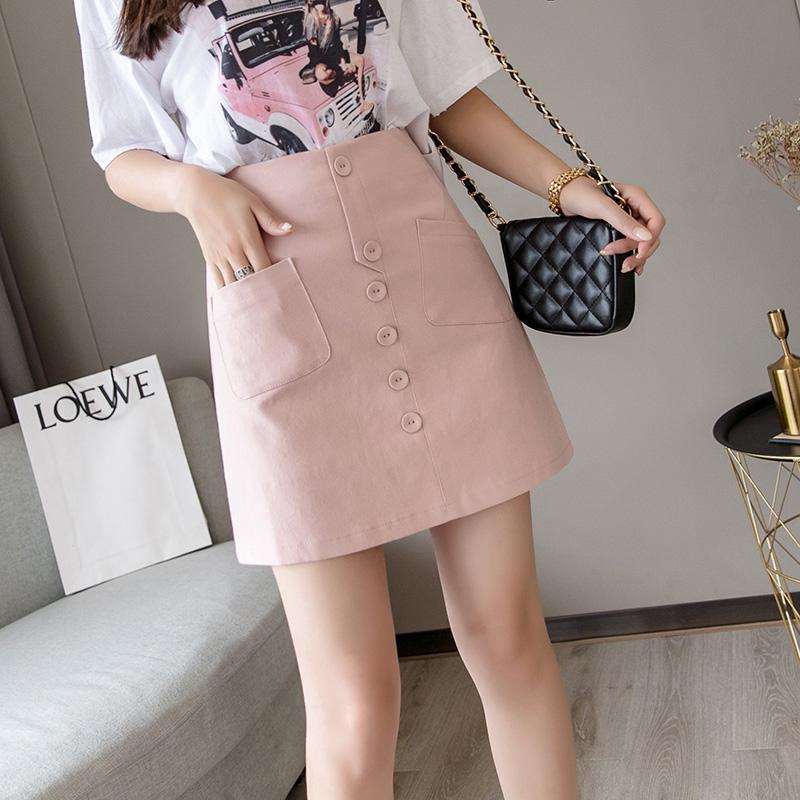 粉色短裙女A字裙半身裙白色A型夏季裤裙2019新款时尚包裙高腰显瘦