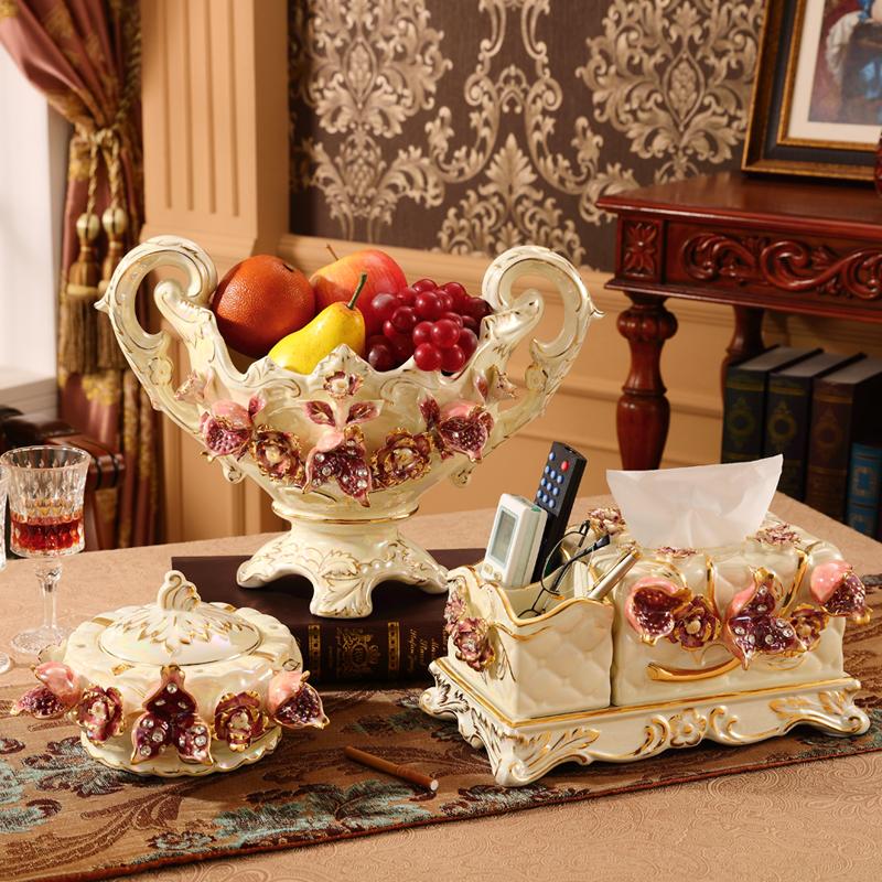 欧式果盘套装奢华创意现代客厅家用纸巾盒陶瓷水果盘三件套装摆件