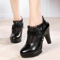 春季新款真皮粗跟蕾丝女短靴网纱女靴防水台高跟侧拉链圆头单靴子