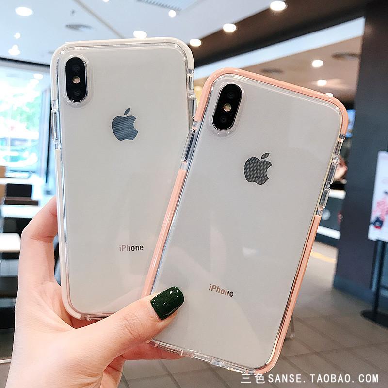 简约透明苹果X/Xs/Max/XR手机壳iphone7plus全包防摔软套情侣女8p