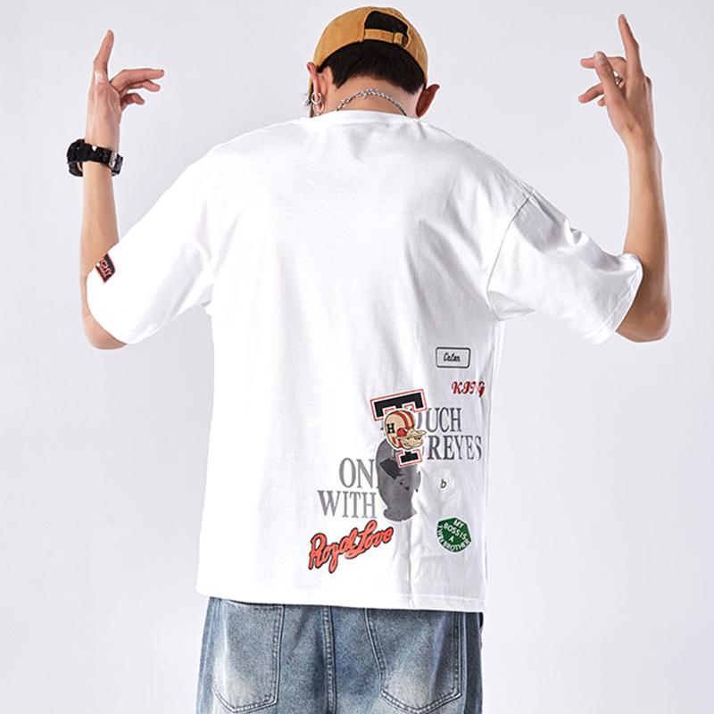 哈克汉贝欧美休闲短袖T恤男宽松潮牌街头个性韩版潮流夏季19新款
