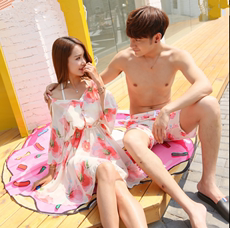 Couples swimwear 2017 new Korean skirt bikini three-piece hot spring small chest thin couple beach set