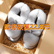 Cotton slippers female winter bag with home indoor warm thick bottom and velvet cotton shoes male cute plush slippers female winter