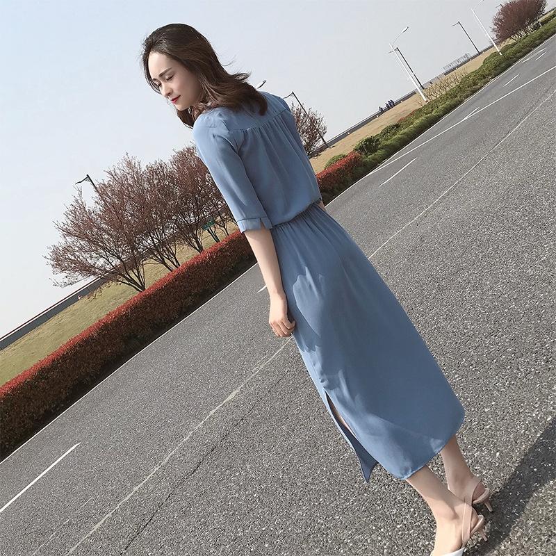 很仙碎花雪纺连衣裙女夏季2019新款法式复古桔梗智熏裙子过膝高腰