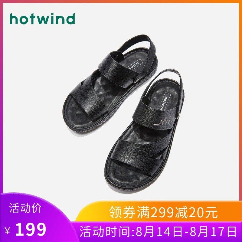 热风黑色沙滩鞋平跟厚底拖鞋两用2019年夏季新款男士时尚牛皮凉鞋