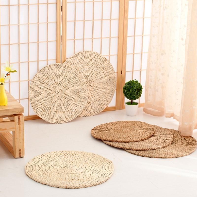 竹编靠背小子草编藤编海绵椅垫榻榻米地垫椅子蒲草田园茶几坐垫